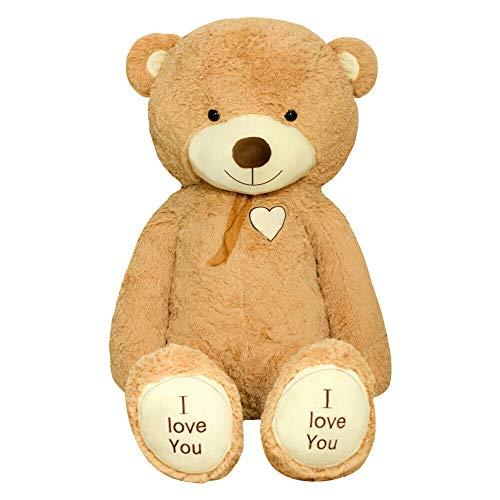 TEDBI Teddybär 200cm | Farbe Hellbraun | Groß Teddy Bear Plüschbär Stofftier Kuscheltier Plüschtier XXL Teddi Bär mit Stickerei I Love You Ich Liebe Dich