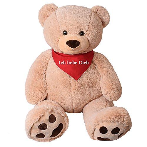 TE-Trend XXL Riesen Teddy Tatzen Rico beige Kuscheltier Plüsch Bär 135 cm Geschenk mit rotem Tuch Ich Liebe Dich